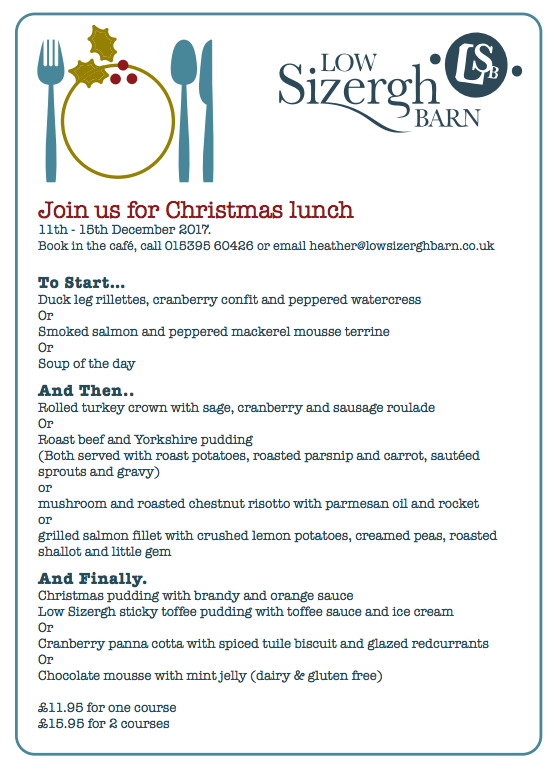 low sizergh barn christmas menu