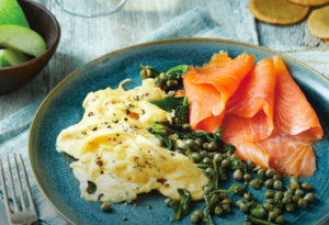 Smoked Salmon and Eggs with Capers & Quinoa Crackers