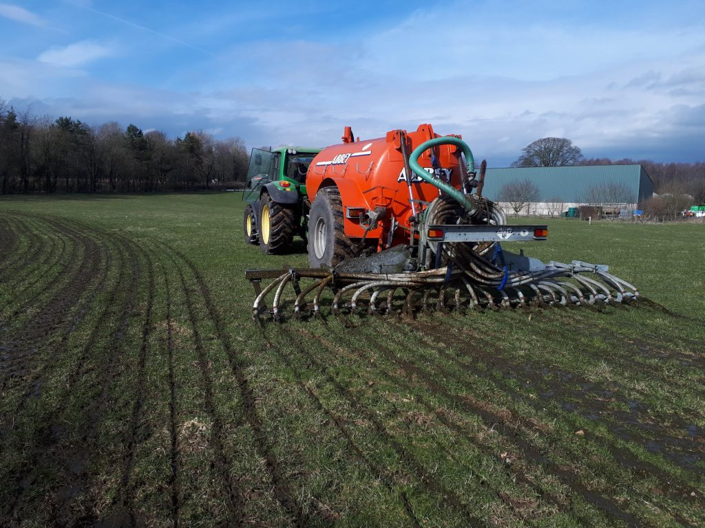 muck spreading at Low Sizergh Farm environmental improvements in techniques for manure management