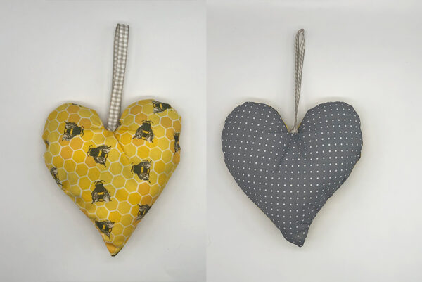 Lavender heart in bee fabric