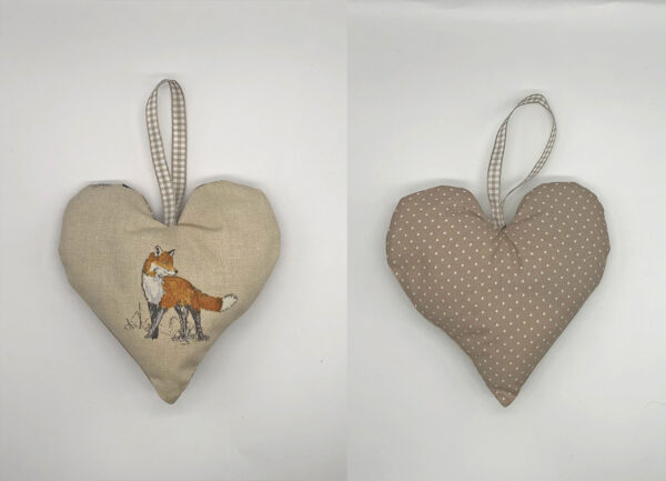lavender heart in vixen print fabric