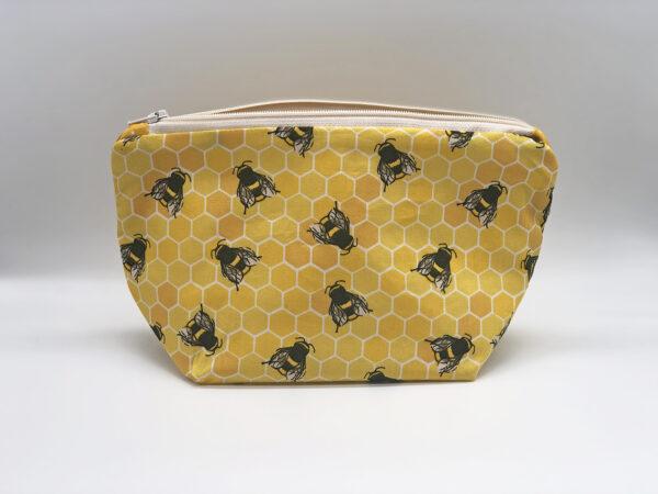 fabric make up bag in yellow bee print